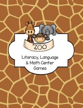 Zoo Animals Literacy, Language and Math Center Games