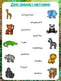 Zoo Animals Matching Worksheet   FREEBIE