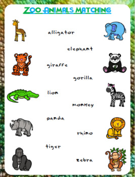 Zoo Animals Matching Worksheet | FREEBIE
