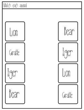 Zoo Animals Matching and Prewriting