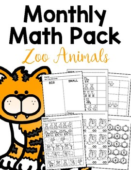 Zoo Animals Math Printables for Special Education FREEBIE