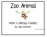 Zoo Animals Math and Literacy Center Games