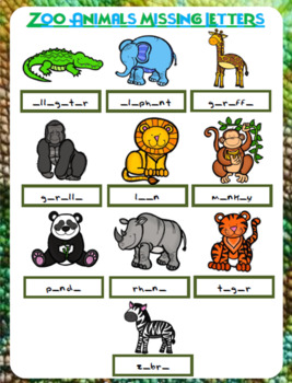 Zoo Animals Missing Letters Worksheet | FREE