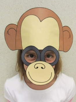 Zoo Animals Monkey Sentence Strip Hat Mask