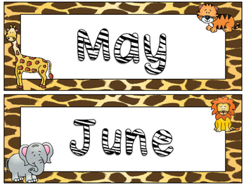Zoo Animals Months of the Year Signs {Jungle Safari Theme}