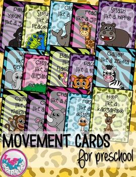 Zoo Animals Movement Cards for Preschool Brain Break