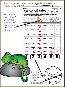 Zoo Animals Multiplication Spin and Solve Math Centers
