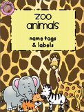 EDITABLE Zoo Animals Name Tags & Labels {Jungle Safari Theme}