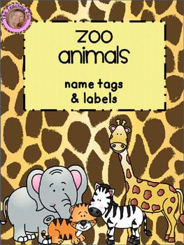EDITABLE Zoo Animals Name Tags & Labels {Jungle Safari Theme}