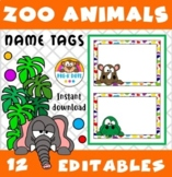 EDITABLE Zoo Animals Name Tags Preschool & Kindergarten