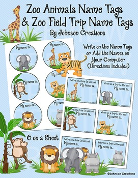 Zoo Animals Name Tags & Zoo Field Trip Name Tags by ...