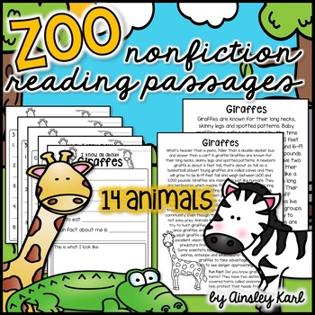 Zoo Animals - Non-Fiction, No Prep, Leveled Passages + gra