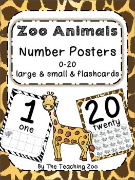 Zoo Animals Number Posters 0-20 - Large, Small & Flashcard