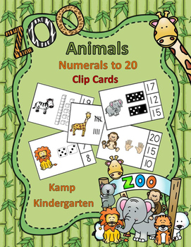 Zoo Animals Numerals to 20 Clip Cards