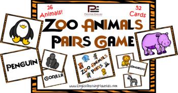 Zoo Animals Pairs Game