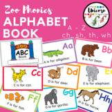 Zoo Animals Phonics Alphabet ABC Book and Word Work Center