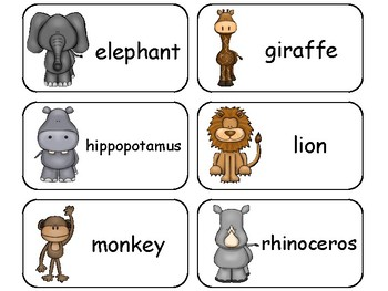 Zoo Animals Picture Word Flashcards. Preschool flash cards for children.
