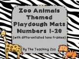 Zoo Animals Number Posters & Play dough mats 1-20 with differentiated 10s frames