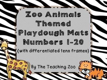 Zoo Animals Number Posters & Play dough mats 1-20 with dif