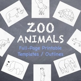 Zoo Animals Printable Full-Page Outlines / Templates for A