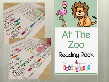 Zoo Animals Reading Comprehension Fun - Kindergarten