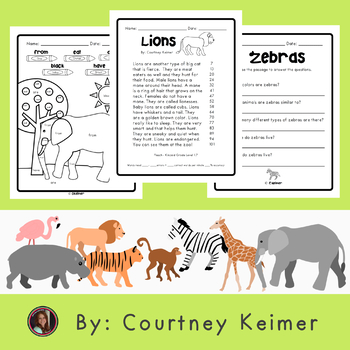 Zoo Animals Reading Intervention Fluency Comprehension Sight Words {Grade 1}
