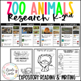 Zoo Animals Research Book Project- Expository Writing for K-2