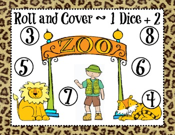 Zoo Animals Roll and Cover Dice Game (4 games in 1)