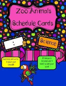 Zoo Animals Schedule Cards