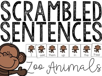 Zoo Animals: Scrambled Sentences (Writing Station Activity)