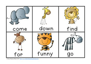 Zoo Animals Sight Word Race