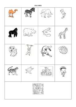 Zoo Animals Spanish Vocabulary Lotería (Bingo)