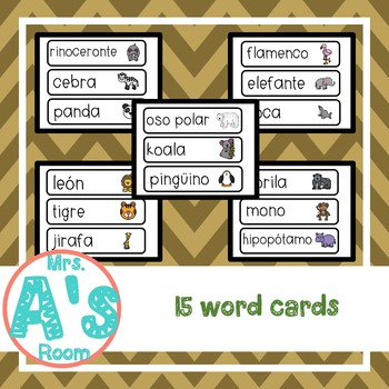 Zoo Animals Spanish Word Cards