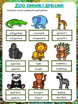 Zoo Animals Spelling Worksheet | Freebie