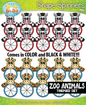 Zoo Animals Spinner Shapes Clipart {Zip-A-Dee-Doo-Dah Designs}
