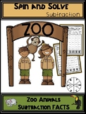 Zoo Animals Subtraction Spin and Solve Math Centers