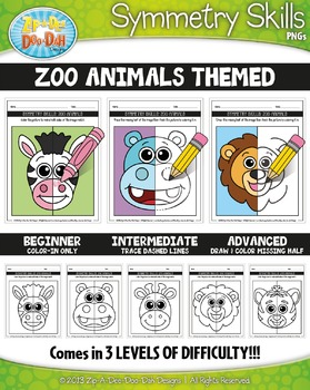 Zoo Animals Symmetry Skill Activity Pack — Includes 15 Sheets!