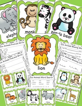Zoo Animals Math and Literacy Activities Bundle