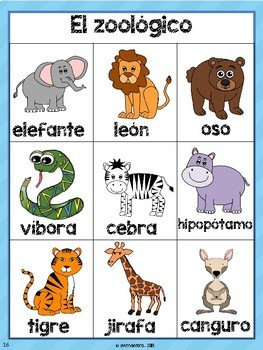 Zoo Animals Thematic Unit & Lesson Plans for Pre-K, Spanish Bilingual
