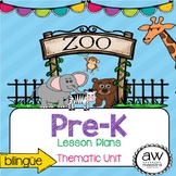 Zoo Animals Thematic Unit & Lesson Plans for Pre-K, Spanis