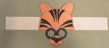 Zoo Animals Tiger Sentence Strip Hat Mask