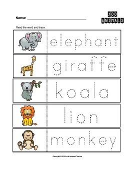 zoo animals trace the words worksheets preschool kindergarten tpt. Black Bedroom Furniture Sets. Home Design Ideas