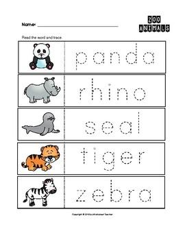 zoo animals trace the words worksheets preschool kindergarten tpt. Black Bedroom Furniture Sets. Home Design Ideas