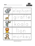 Zoo Animals Trace the Words Worksheets Preschool/Kindergarten