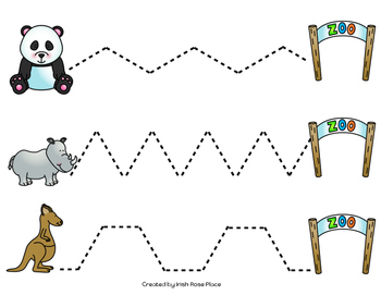 zoo animals tracing sheets by irish rose place tpt. Black Bedroom Furniture Sets. Home Design Ideas