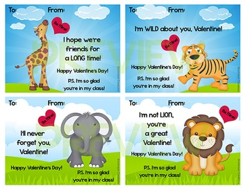 Zoo Animals Valentines