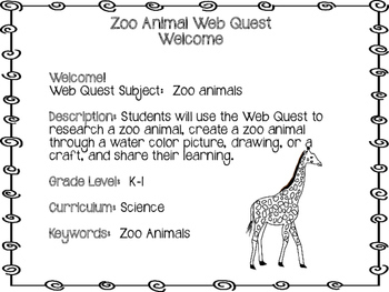Zoo Animals Web Quest