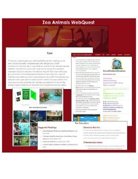 Zoo Animals WebQuest (2nd - 3rd Grade)