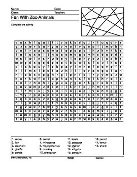 Zoo Animals Word Search Printable