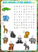 Zoo Animals Word Search Worksheets   Freebie